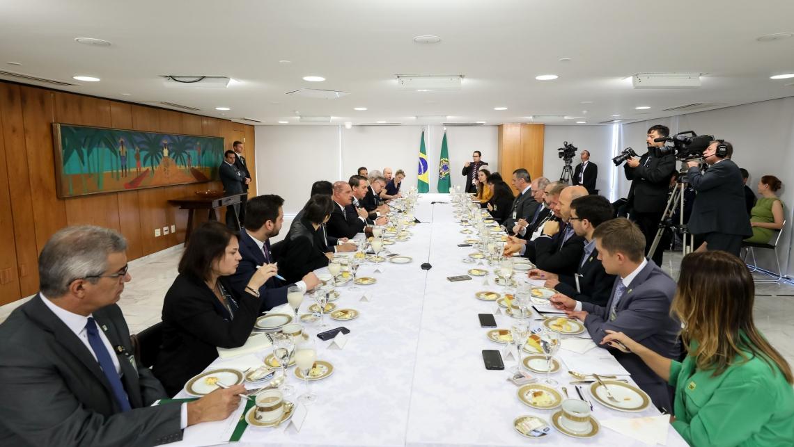 Presidente da República, Jair Bolsonaro, durante café da manhã com jornalistas
