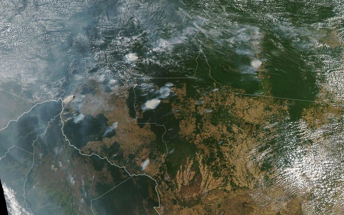IMAGEM de satélite da Nasa já mostra nuvem de fumaça sobre Rondônia e Amazonas em decorrência das queimadas