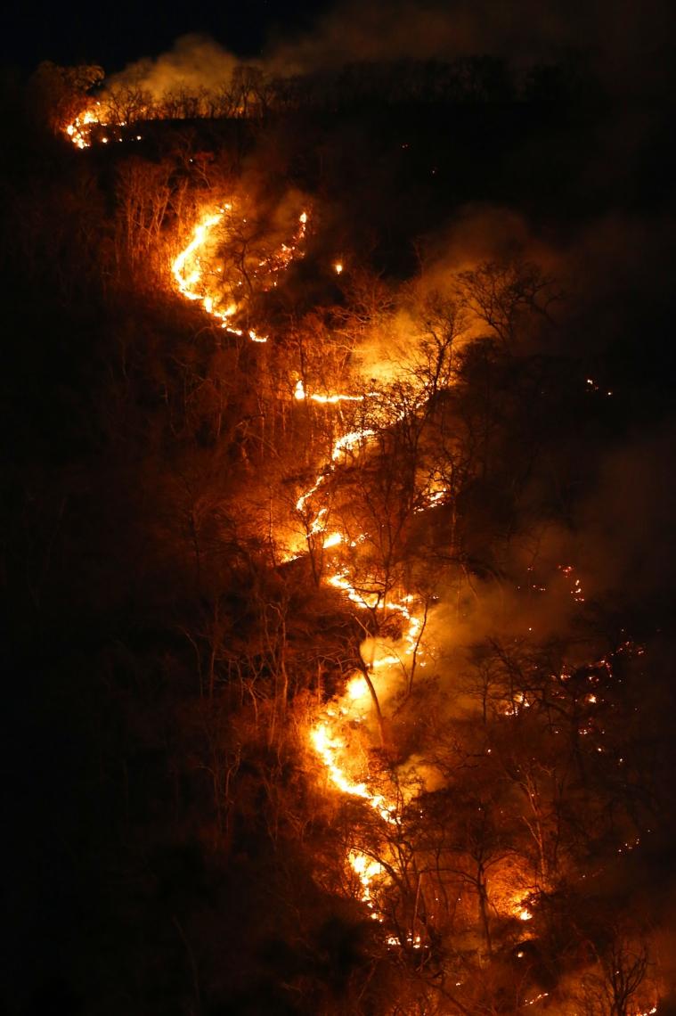 TO - DESMATAMENTO/AMAZÔNIA/QUEIMADAS - GERAL - Imagem registrada no dia 17 de agosto de 2019 mostra um incêndio de   grandes proporções na região de cerrado do município de Palmeiropólis, no   Tocantins. O presidente Jair Bolsonaro (PSL) mostrou preocupação com a   repercussão negativa de suas