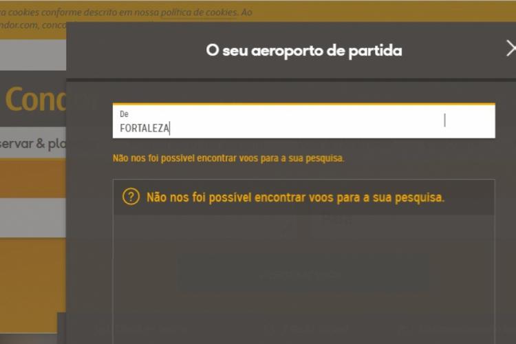 Ao acessar o site da Condor, o passageiro já não consegue mais fazer buscas pelo voo