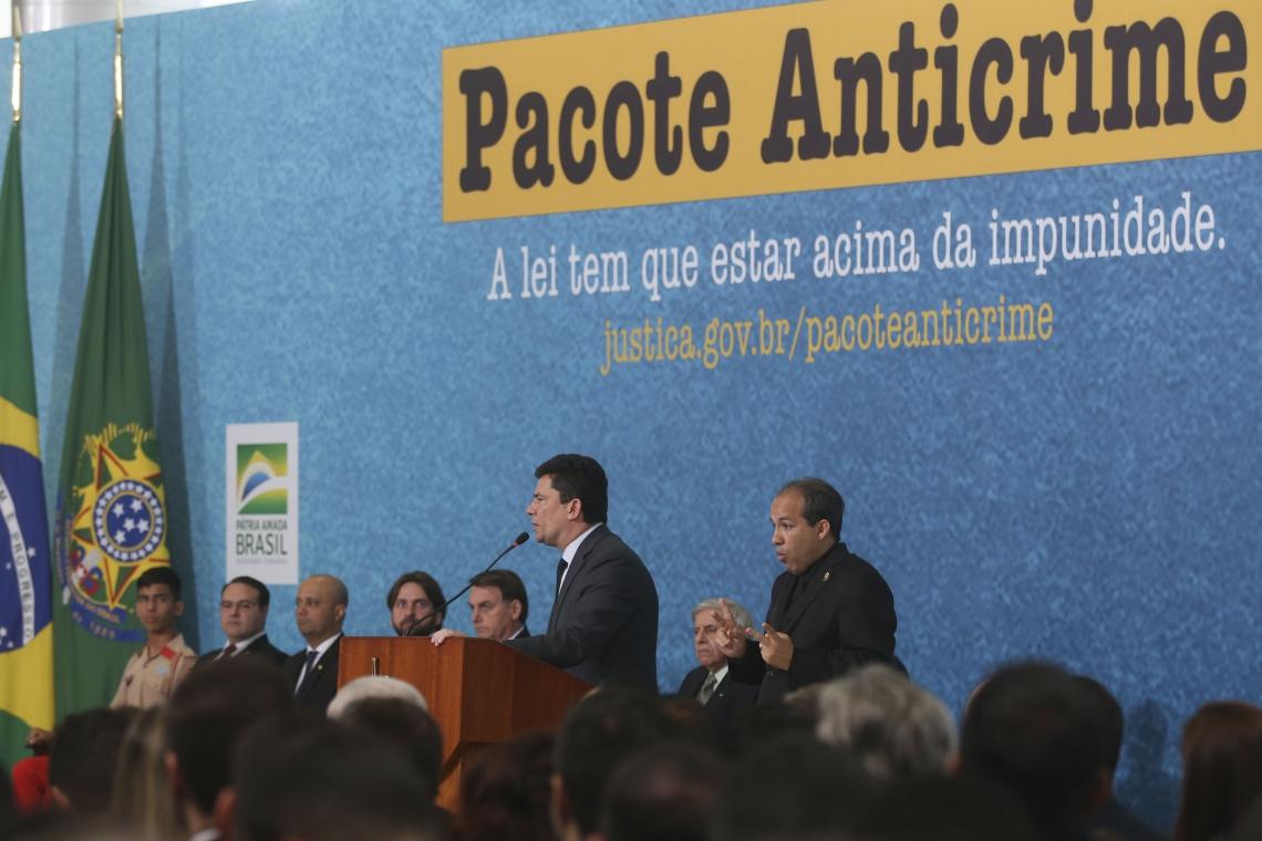 .O ministro da Justiça e Segurança Pública, Sergio Moro, participa do lançamento da campanha publicitária do Projeto Anticrime, do governo federal