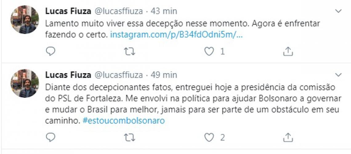 Empresário Lucas Fiúza anunciou decisão no Twitter