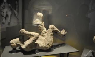 Corpo carbonizado no museu do Sítio Arqueológico de Pompeia