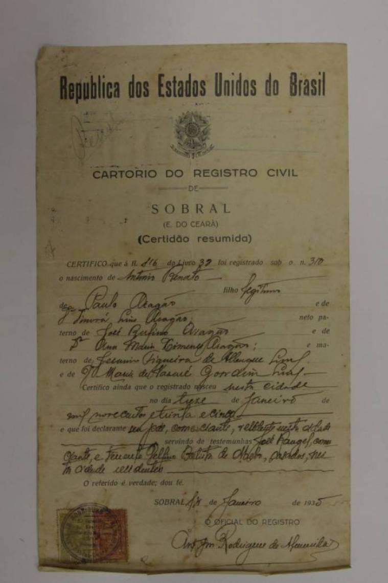 Certidão de nascimento de Renato Aragão