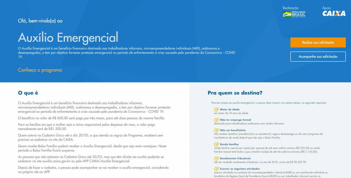 Página inicial para cadastro no auxílio emergencial