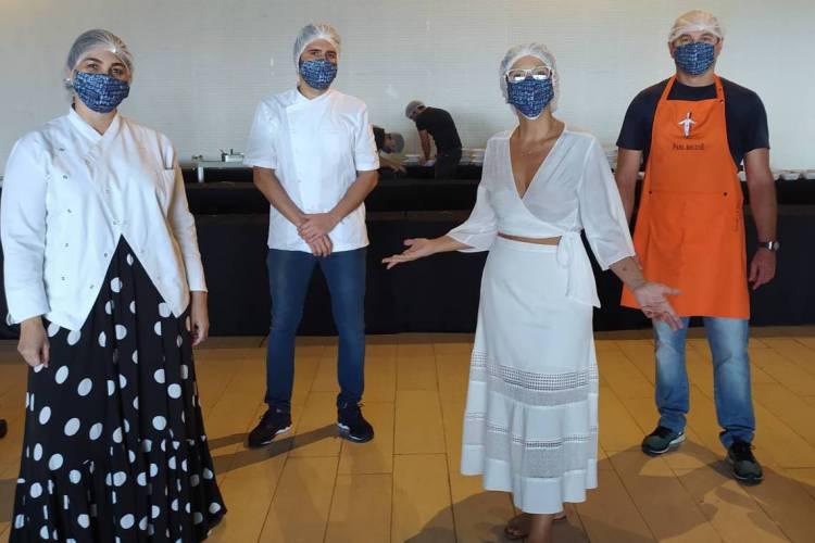 Izabella Fiúza,Wladmir Ponte, Lídia Oliveira e Freitas Júnior, coordenadores da ação Macarrão Amigo Fortaleza