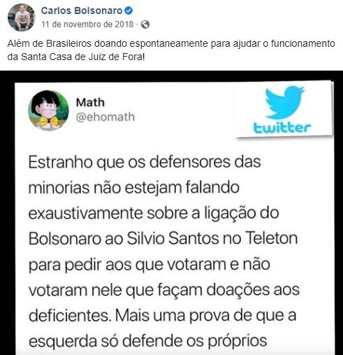 Math era referenciado com frequência nas redes sociais por Carlos Bolsonaro