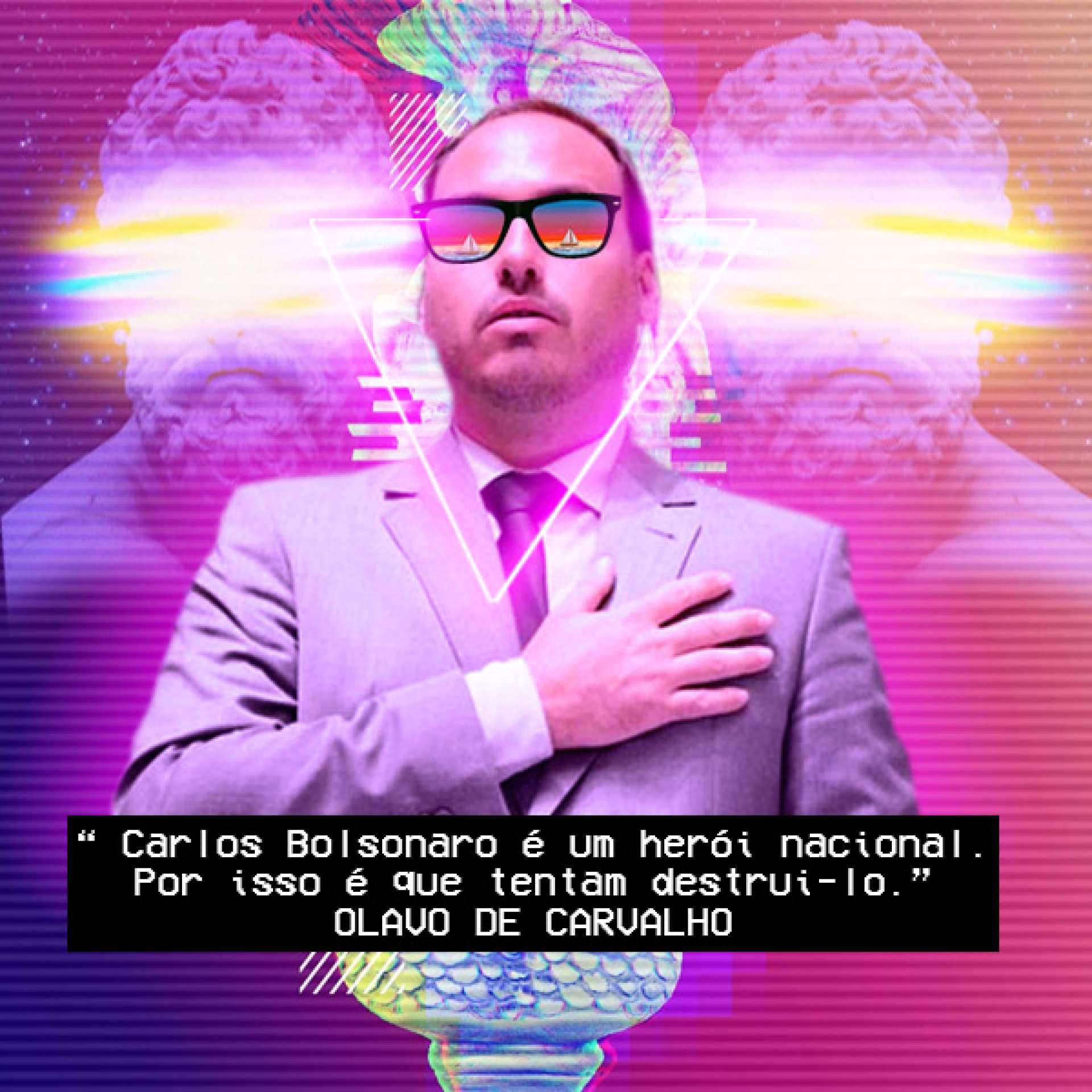 Postagem atribuída a Guilherme Julian mostrando, com estética vaporwave, elogios de Olavo de Carvalho a Carlos Bolsonaro
