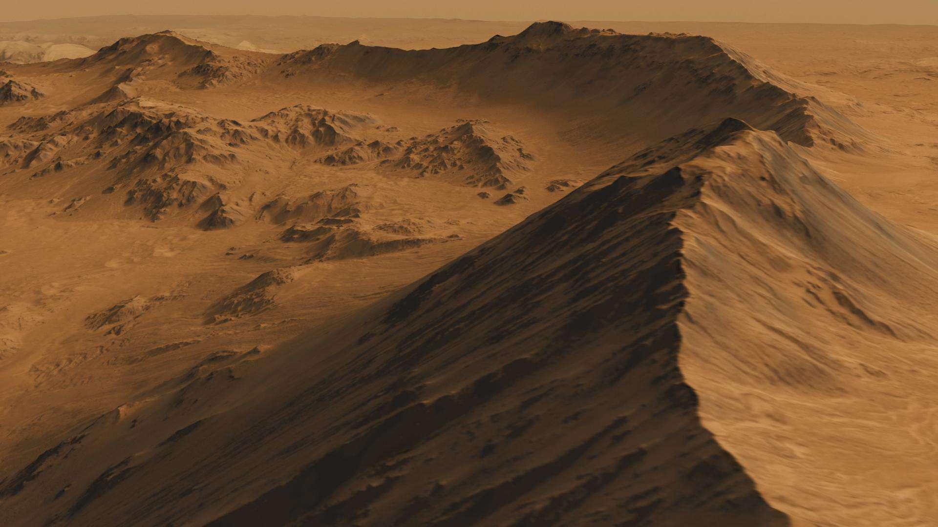 Captura de tela de um filme simulado em alta definição da Mojave Crater em Marte, com base em imagens tiradas pela câmera High Resolution Imaging Science Experiment (HiRISE) na Mars Reconnaissance Orbiter da NASA.