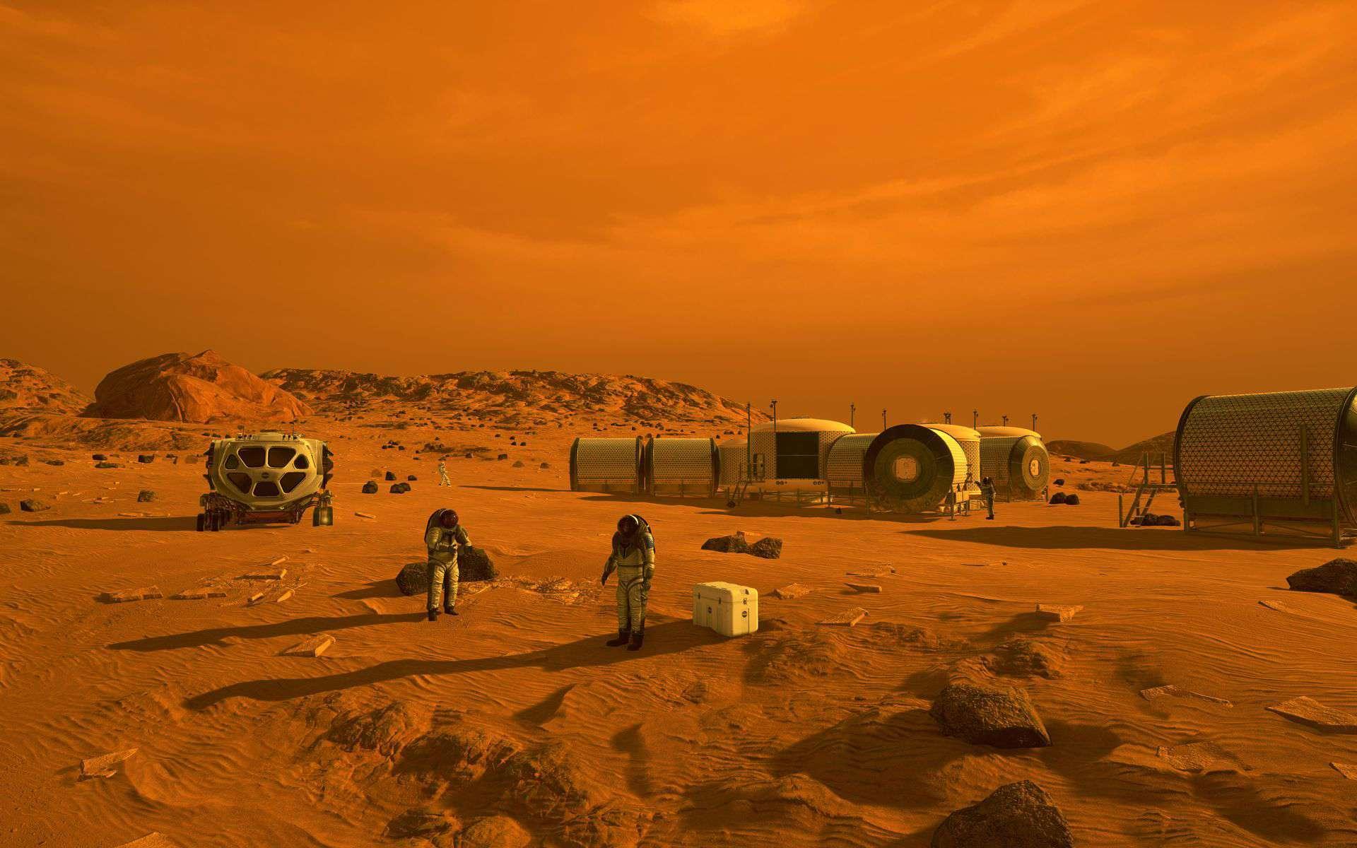 Ilustração artística mostra astronautas em habitats humanos em Marte. O rover Mars 2020 da NASA levará uma série de tecnologias que poderiam tornar Marte mais seguro e fácil de explorar para os seres humanos. A JPL está construindo e gerenciará as operações do rover Mars 2020 para a Diretoria de Missões Científicas da NASA na sede da agência em Washington
