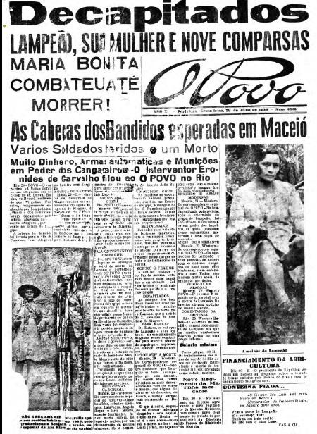 Capa do O POVO que noticiou morte de Lampião, 82 anos atrás