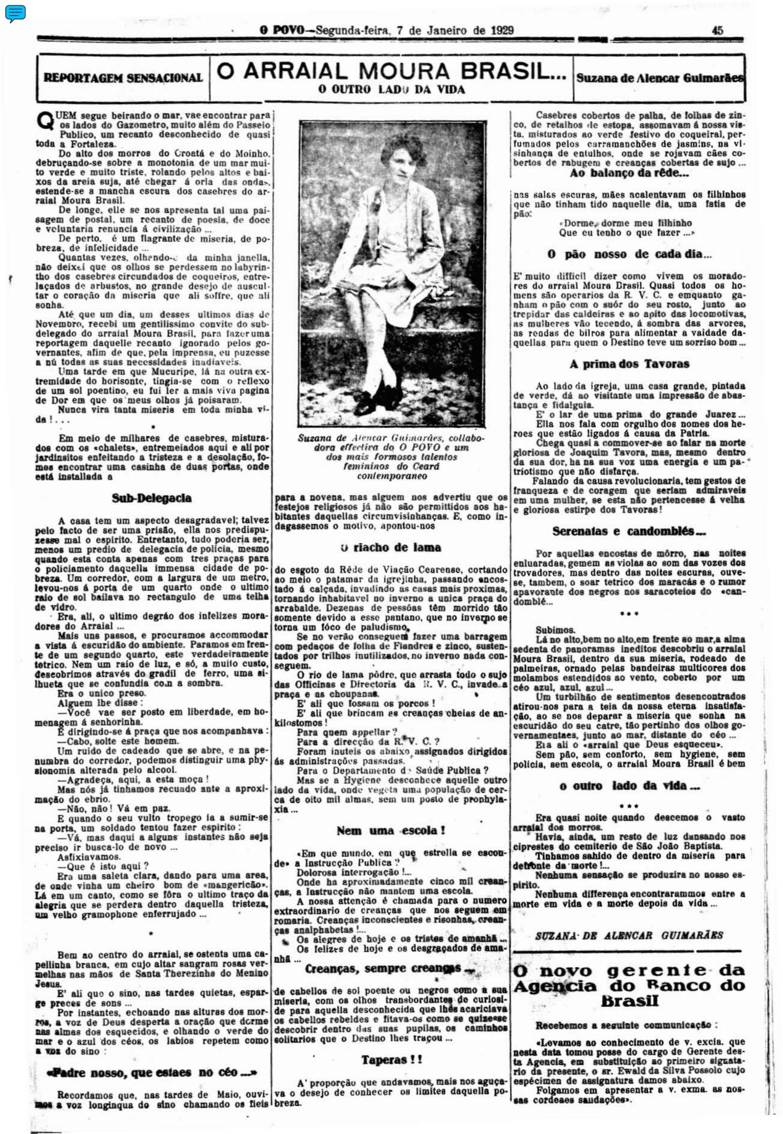 Reportagem de Suzana de Alencar Guimarães publicada em janeiro de 1929, no O POVO