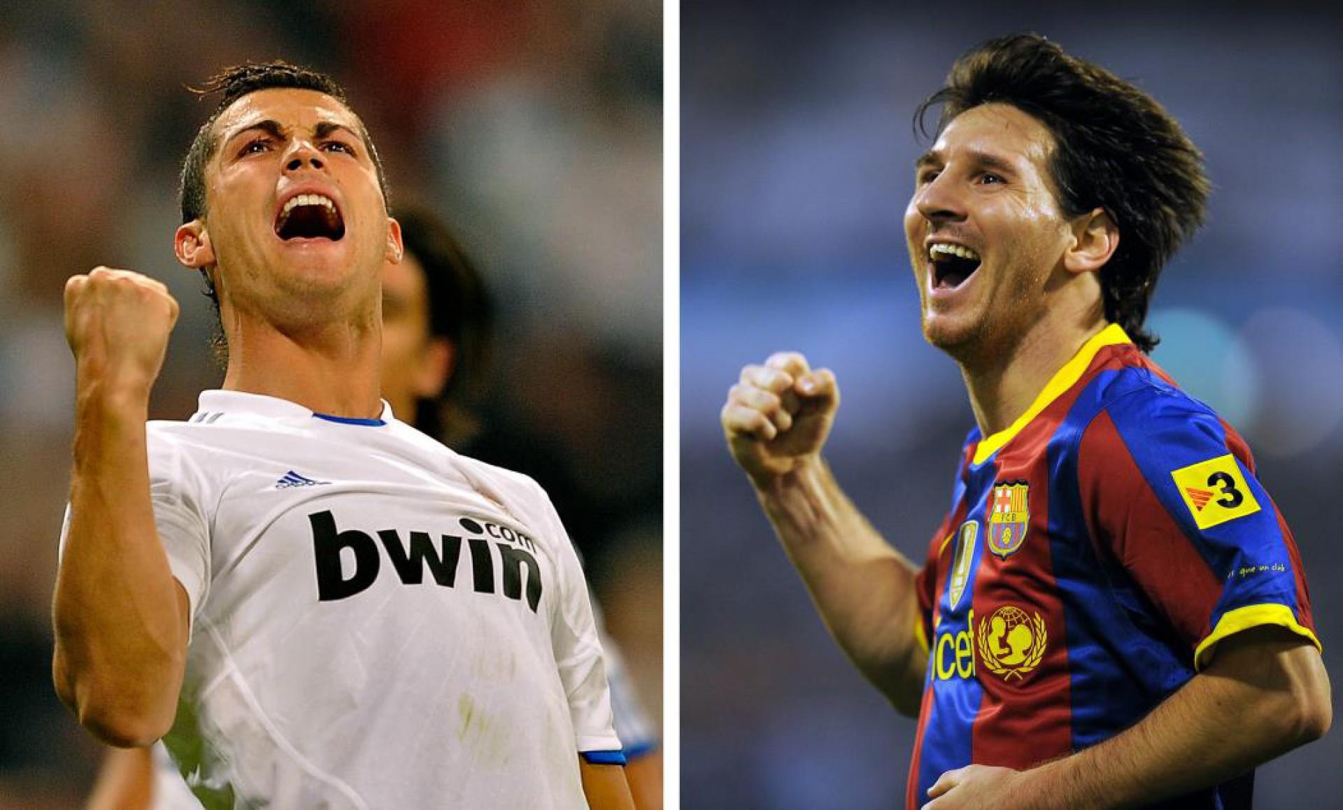 Imagem dos dois supercraques Cristiano Ronaldo e Lionel Messi, em 28 de novembro de 2010, quando o atacante português jogava no Real Madrid. (PEDRO ARMESTRE / AFP / Getty Images)