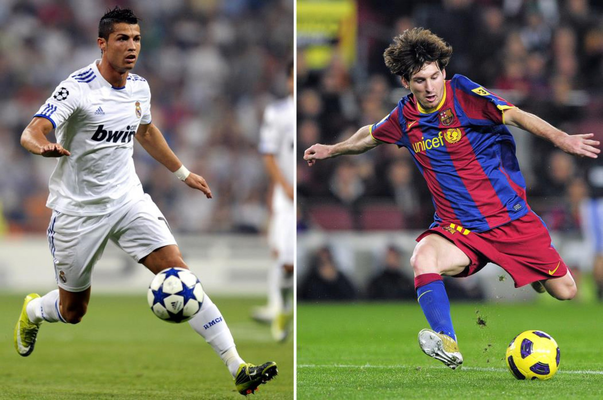 Os atacantes português Cristiano Ronaldo (quando jogava no Real Madri) e o argentino do Barcelona Lionel Messi, donos dos mais expressivos desempenhos dos últimos anos (FOTO AFP / PIERRE-PHILIPPE MARCOU)