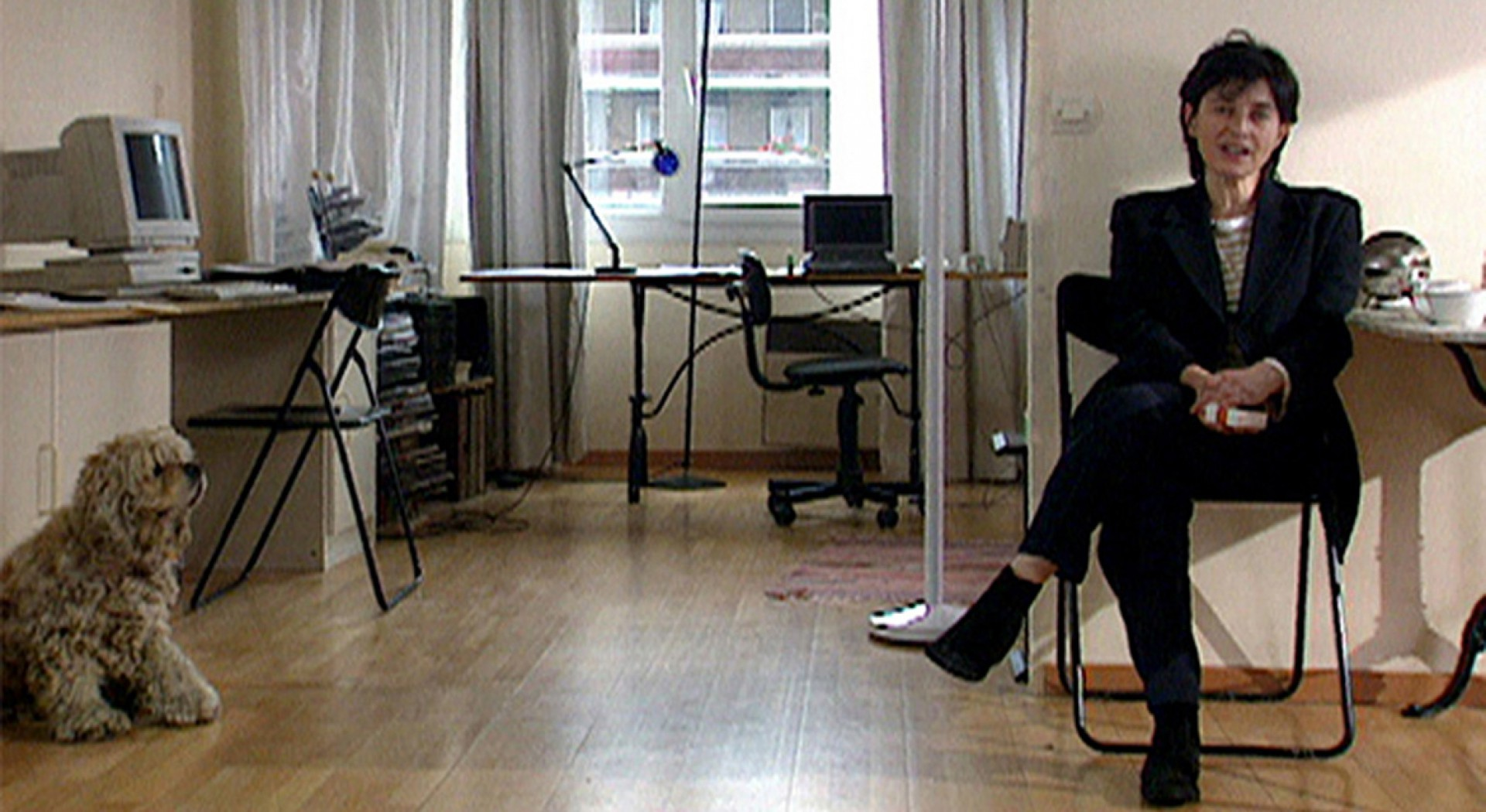 A cineasta durante gravação de Chantal Akerman por Chantal Akerman
