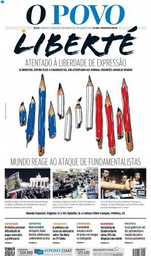 Capa da edição do O POVO 8/1/2015 na cobertura do ataque ao Charlie Hebdo