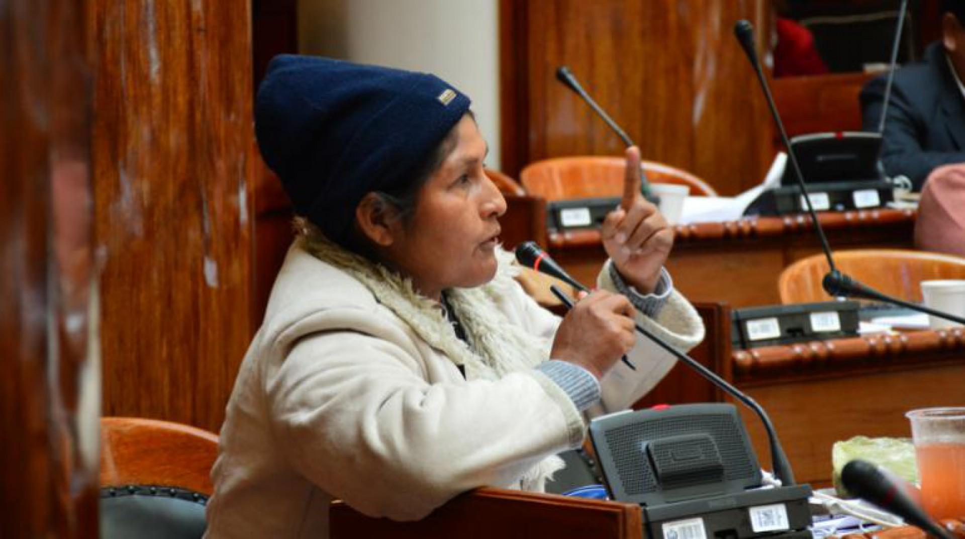 A deputada Juana Quispe, na Câmara dos Deputados boliavana.