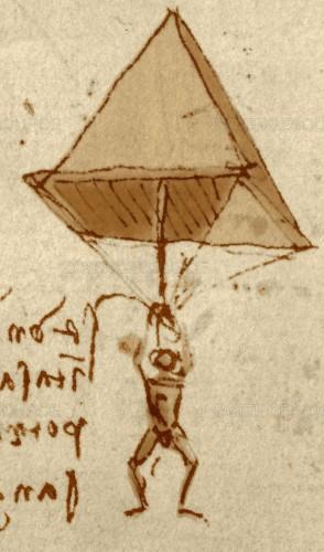 Ainda em 1485, o primeiro artefato que parecia um paraquedas foi desenhado por Da Vinci. Tinha forma de uma pirâmide.