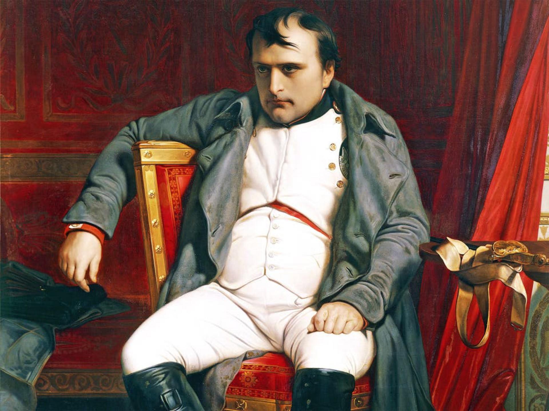 Napoleão em Fontainebleau, onde foi firmado o acordo que reconheceu a abdicação e o exilou na ilha de Elba, no Mar Mediterrâneo, em 11 de abril de 1814