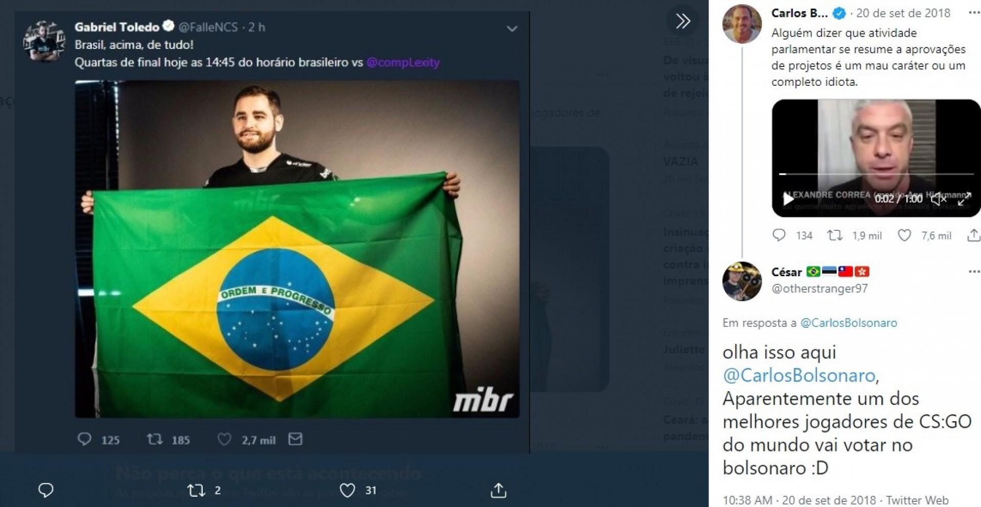 No auge da campanha eleitoral em 2018, Gabriel FalleN publicou foto com a bandeira do Brasil utilizando um jargão que se popularizou na época com Bolsonaro(Foto: Reprodução/Twitter)