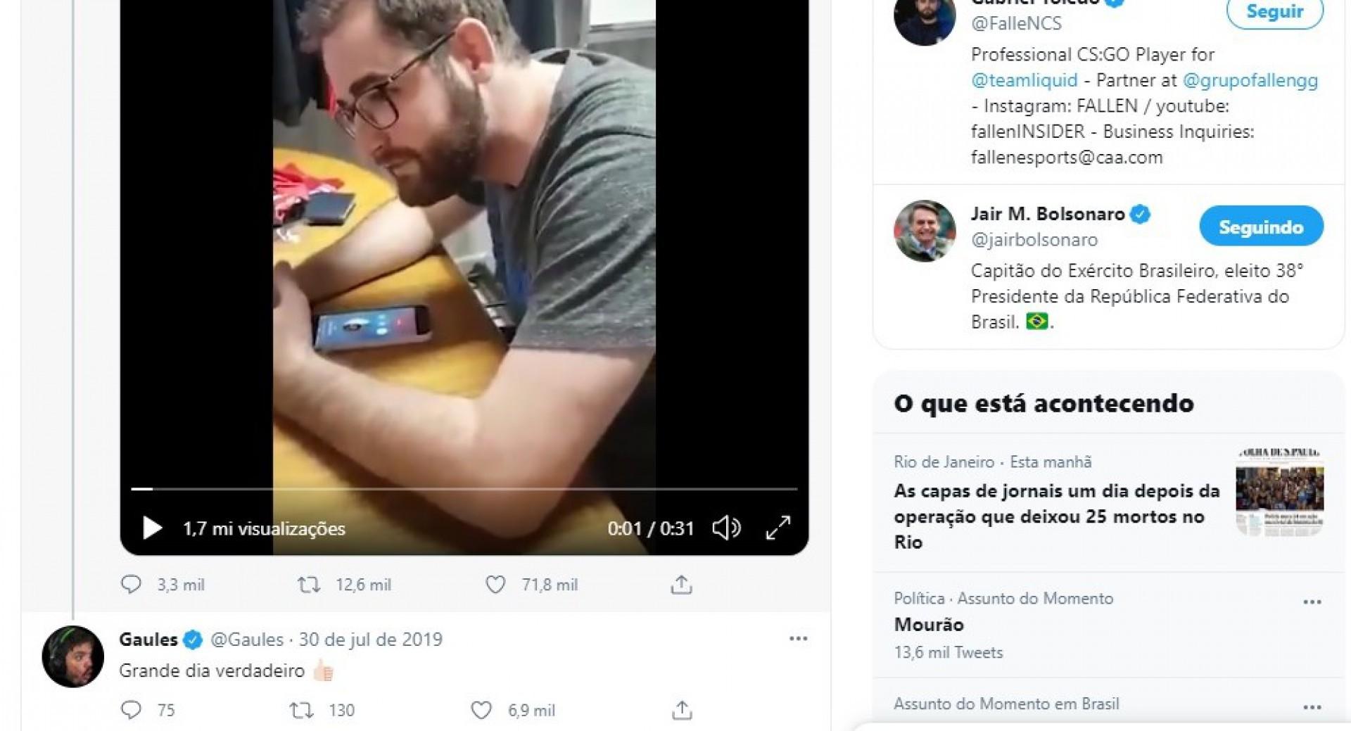 Alexandre Borba Chiqueta, o Gaulês, um dos maiores streamers de jogos do mundo, comenta a postagem de FalleN(Foto: Reprodução Twitter)