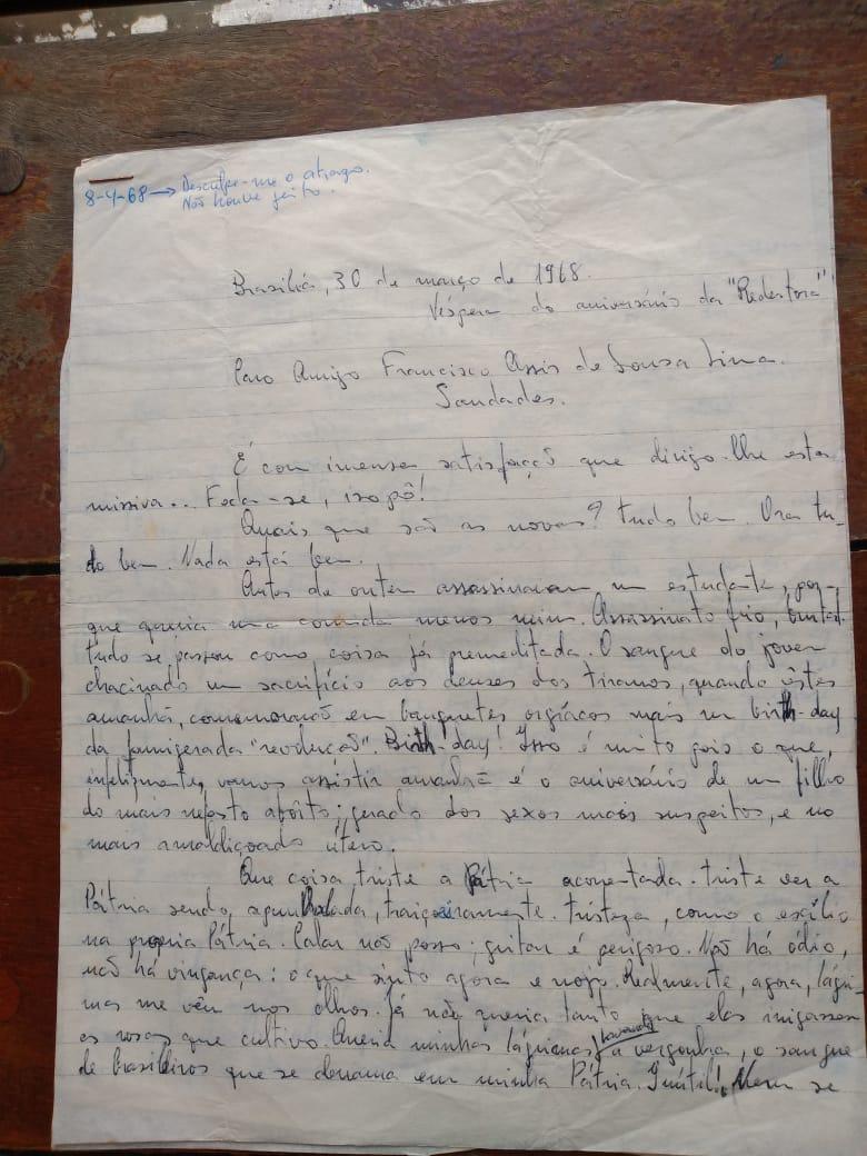 """Carta """"Pátria Acorrentada"""", de Pedro de Lima, escrita em 30/3/1968. A missiva está no livro """"Cartas da Juventude"""", organizado por Assis Lima"""