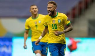 Neymar deixou o dele, de pênalti, na vitória de 3 a 0 sobre a Venezuela (Foto: Lucas Figueiredo / Divulgação / CBF)