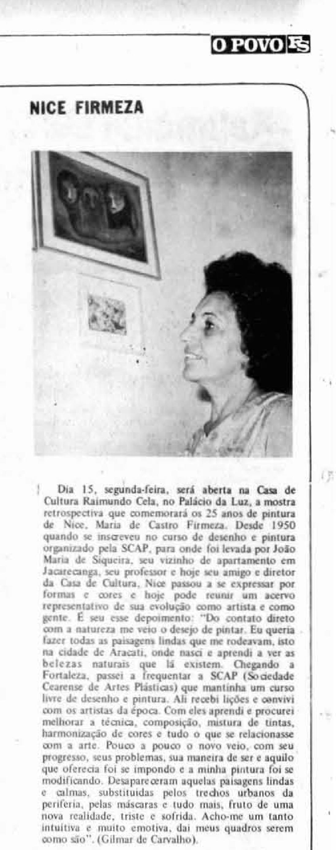 (Foto: DataDocOP / reprodução)Matéria escrita por Gilmar de Carvalho sobre Nice, publicada em 13/9/1975