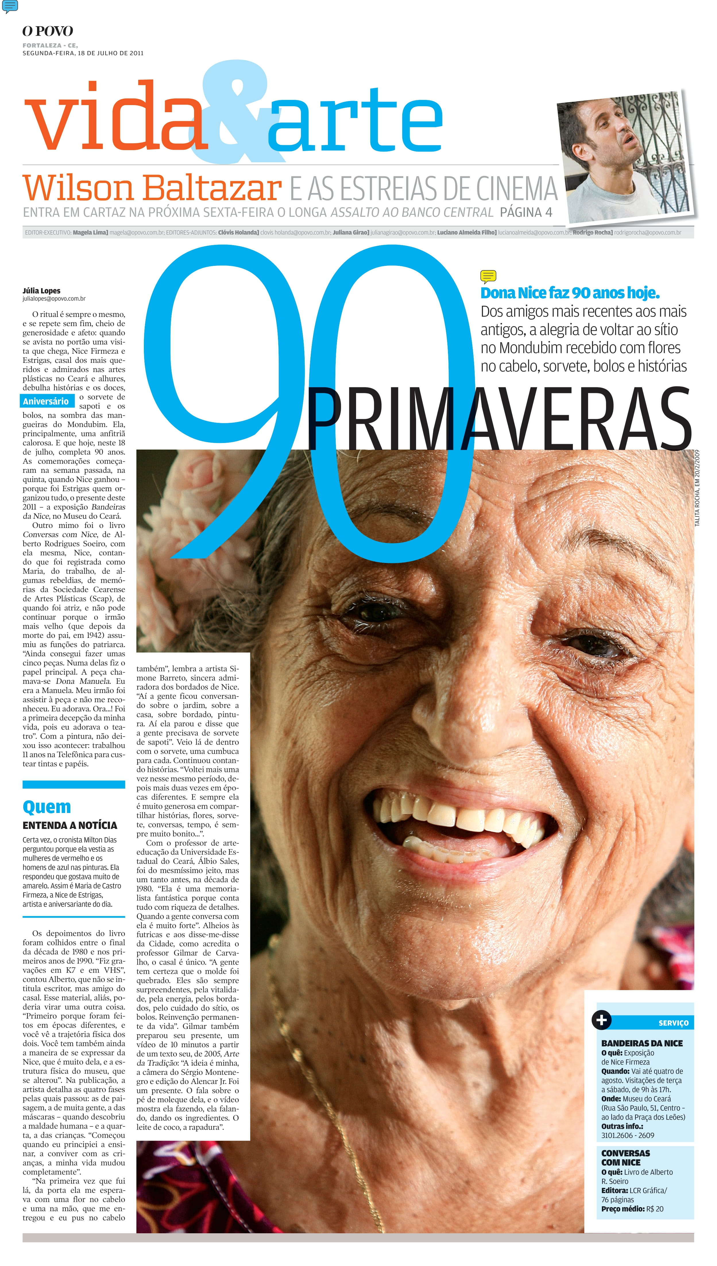 (Foto: DataDocOP / reprodução)90 anos de Nice foram marcados com matéria no V&A de 18/7/2011