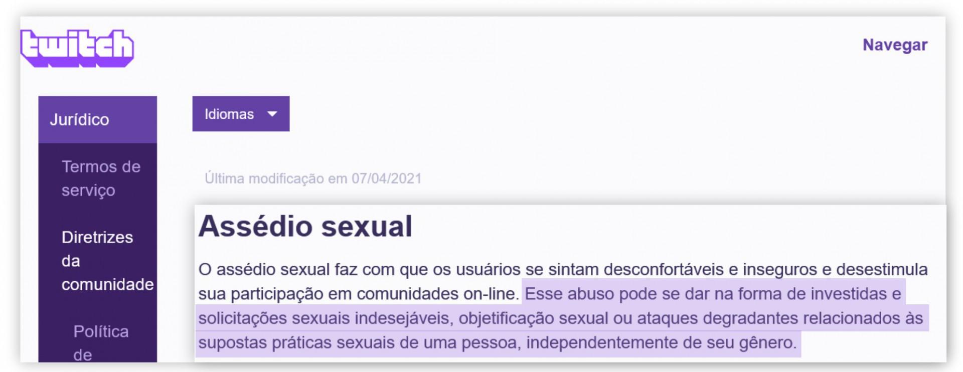 Diretrizes da comunidade da Twitch TV sobre assédio sexual(Foto: Twitch TV / Reprodução)