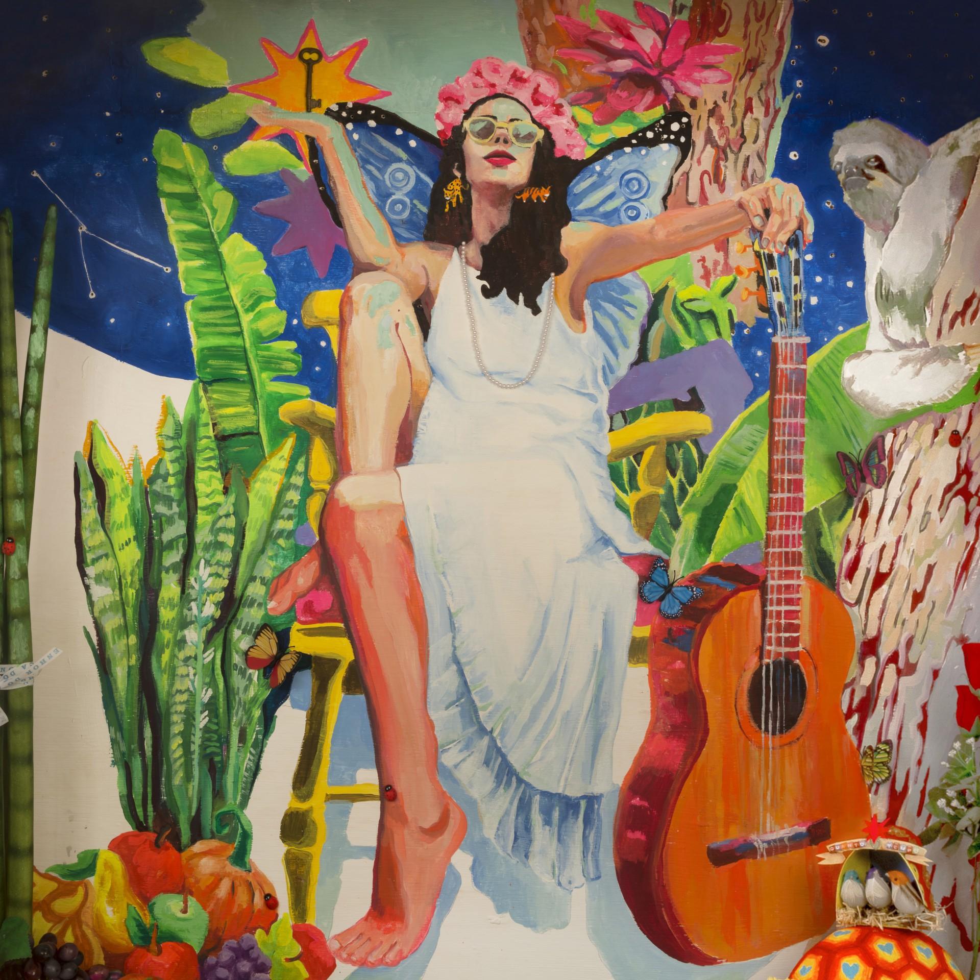 Capa do álbum 'Portas', com obra de Marcela Cantuária