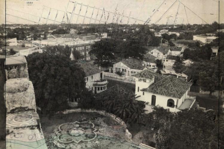 Vista da Aldeota de 1972 registrada do alto do Castelo do Plácido, edificação demolida ainda na década de 1970, que foi posteriormente desapropriada pelo Estado para abrigar a Central de Artesanato, na atual Praça Luiza Távora(Foto:  Livro História Urbana e Imobiliária de Fortaleza/Divulgação)
