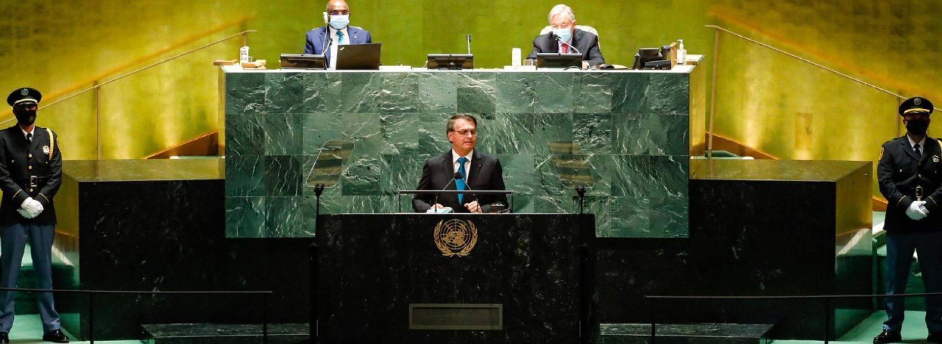 Presidente Jair Bolsonaro em dirscurso ma ONU (Foto: Alan Santos/PR)