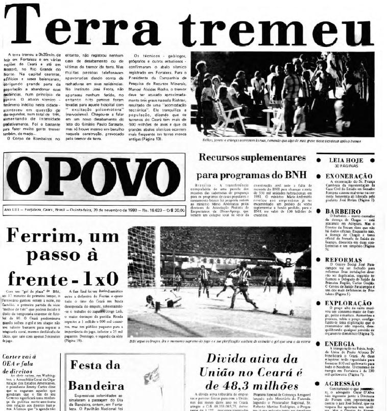 Capa do O POVO de 20 de novembro de 1980