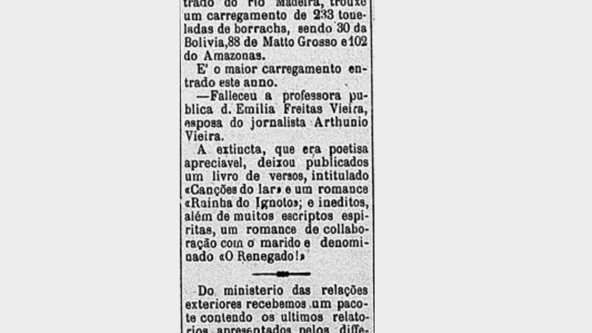 (Foto: Pacotilha (MA))Nota de falecimento de Emília Freitas.