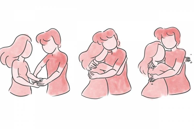 As três fases de um bom abraço.