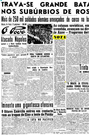 Capa do dia 8 de fevereiro de 1943.(Foto: Data.Doc/Arquivos O POVO)