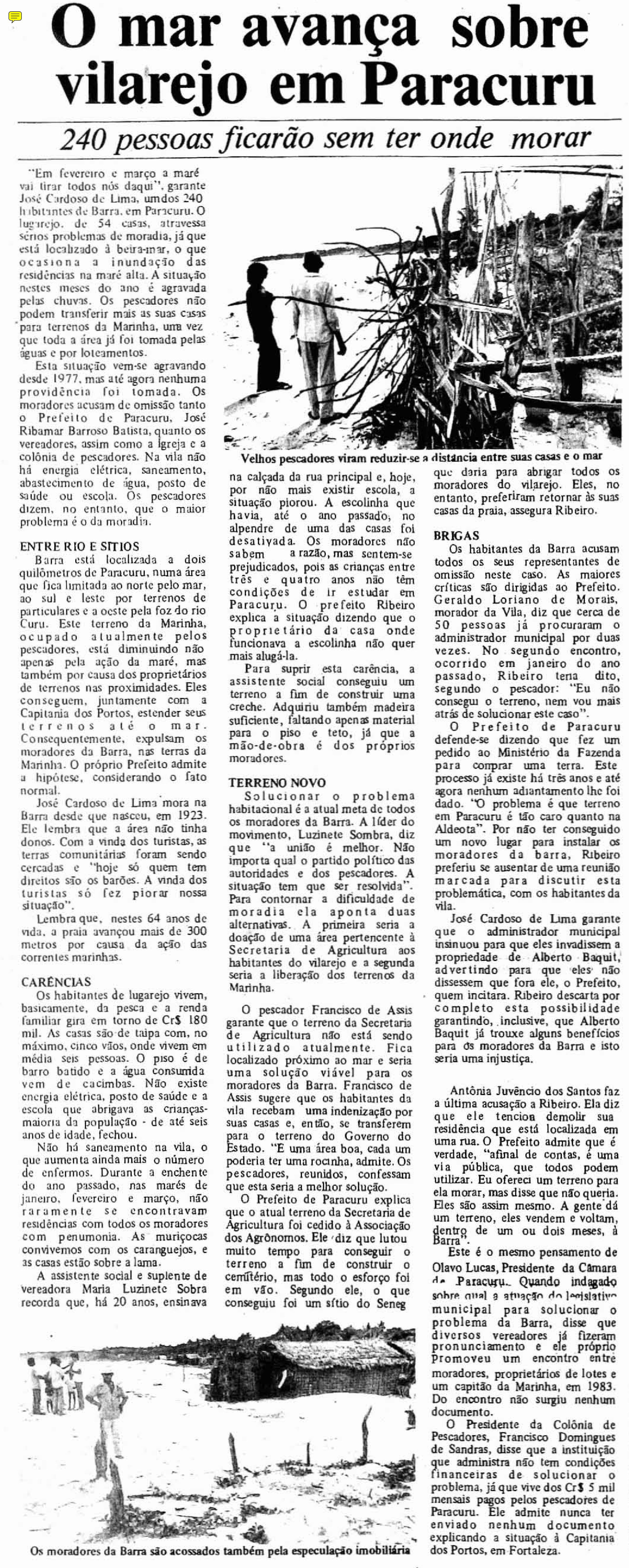 (Foto: Data.Doc/Arquivo O POVO)Recorte da matéria de 3 de fevereiro de 1986.