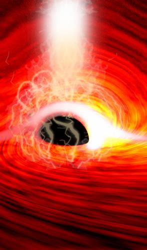Luz por trás do buraco negro