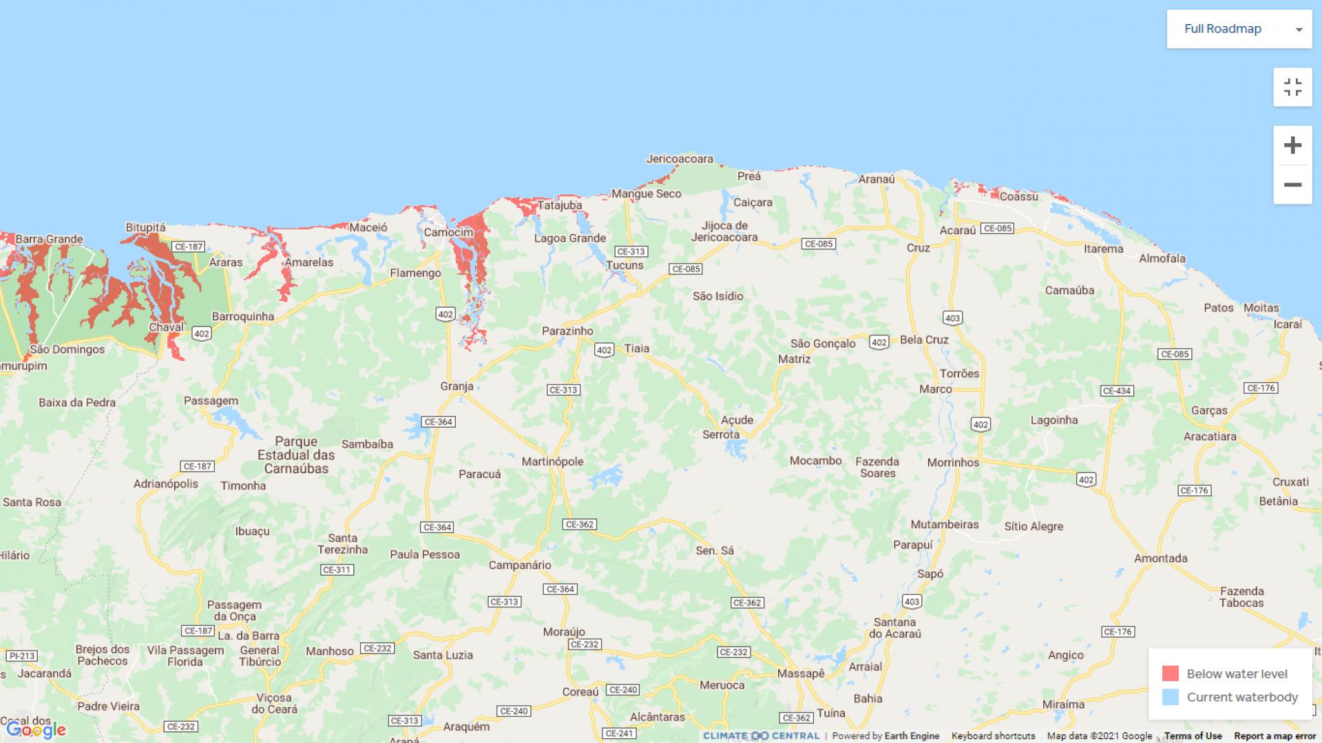 (Foto: Reprodução/Climate Central)Avanço geral no Ceará.