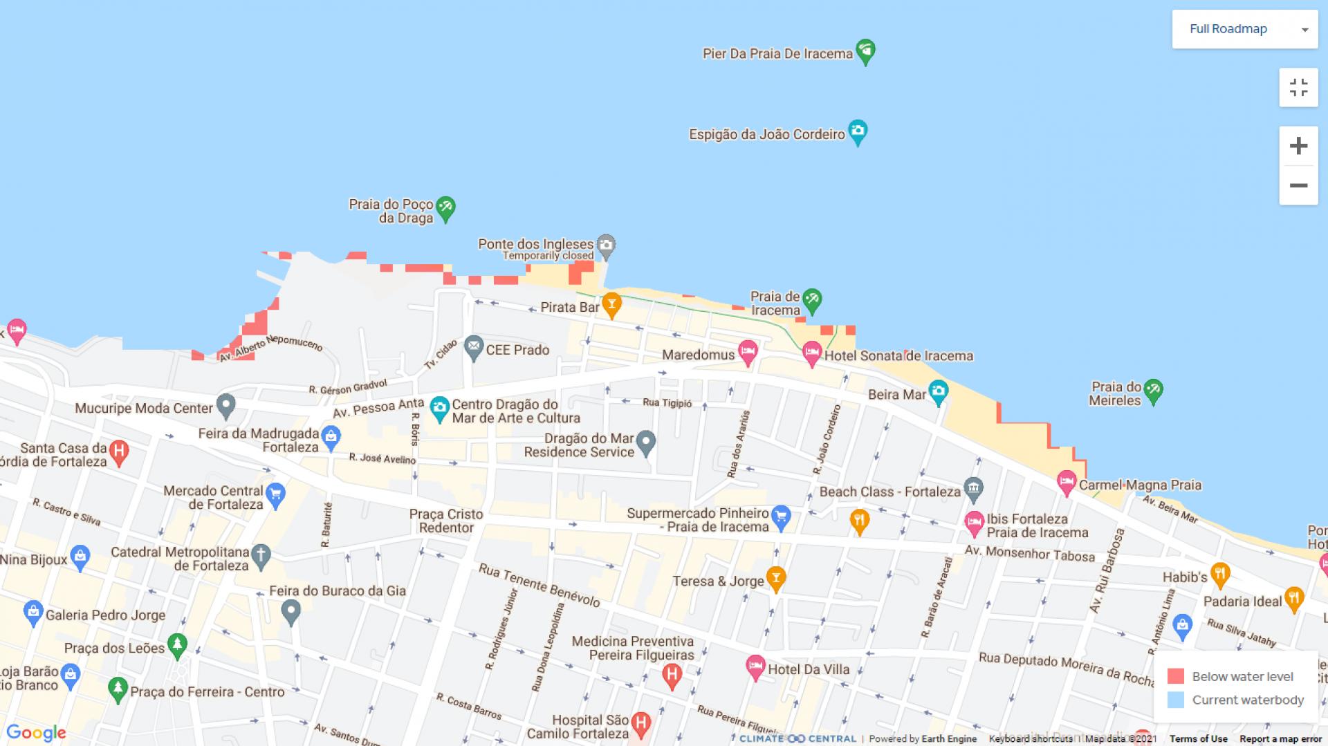 (Foto: Reprodução/Climate Central)Detalhe do avanço no bairro Beira Mar e adjacências, em Fortaleza.